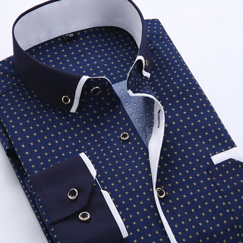 Autumn Printed Men Shirt Long Sleeve Male Business Casual Fashion Formal Dress Shirts Slim Fit Camisa