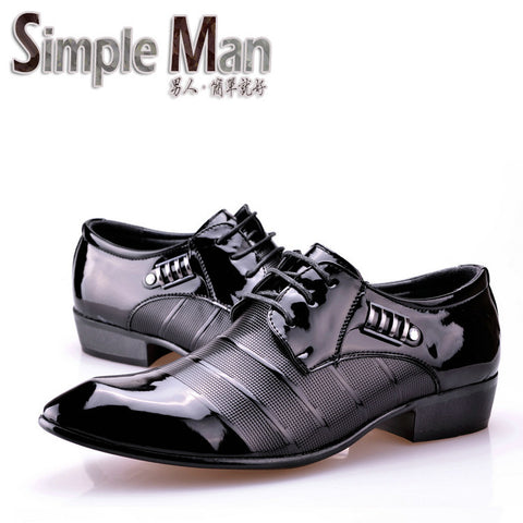 Simple Man brand Pointed toe men leather shoes male fashion business formal shoes flats