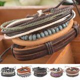 1Set 4pcs Braided Adjustable Leather Bracelet Punk Jewelry Cuff Women/Men`s Casual Jewelry