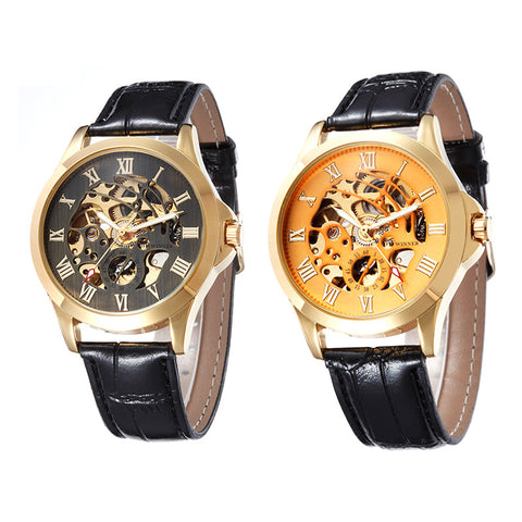Watches Men  Fully Automatic Mechanical Hand Wind Business men Watches Stainless Steel Leather Belt Roman Numerals E2sh