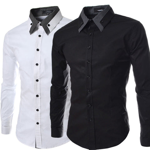 Mens Dress Shirts Men Double Collar Slim Fit Long Sleeve Shirt Camisa Masculina Casual Shirts Good Quality