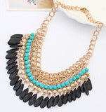 Bohemia Jewelry Necklace 2015 New Fashion Rhinestone Chain Collar Gold Necklace & Pendant Tassel Statement Necklace Women