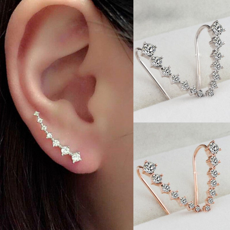 Sale Women Lady Fashion Elegant Chic New Silvery Golden Rhinestone Crystal Ear Hook Earrings Jewelry Gift