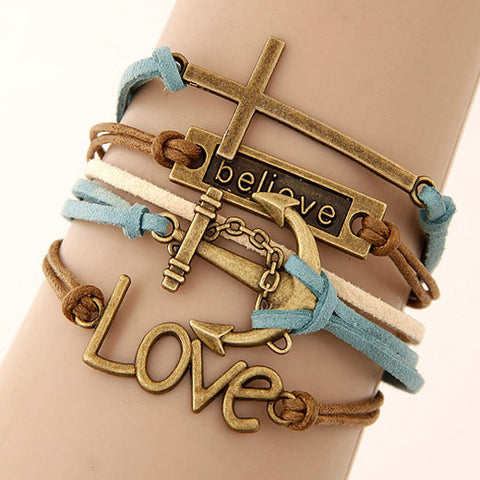 Charm Vintage Multilayer Charm Leather Bracelet Women Owl Cross Believe Bracelets Statement Jewelry Lady Best Friends Gift