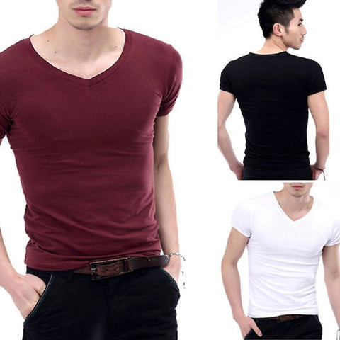 New hot Fashion Men's V-Neck Short Sleeve T-Shirt Slim Basic Tee Top Multicolor
