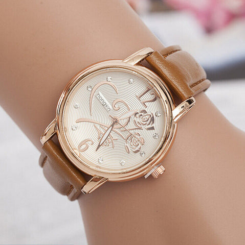 Fashion Watches Women Gold Alloy Case Ladies Watch  Leather Quartz Watch Relogio Feminino Clock Relojes Mujer 2015