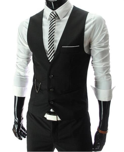 Vintage Men Suit Vest New Brand Designer Formal Business Dress Waistcoat Slim Gilet Man Fashion Sleeveless Jacket