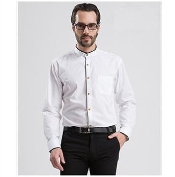 New Men dress Shirts Man Casual Slim Long Sleeve shirt Male Spring Autumn Cotton Tops Male Classic Mandarin Collar Clothing