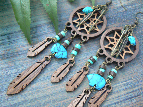 dreamcatcher earrings laser earrings  tribal earrings