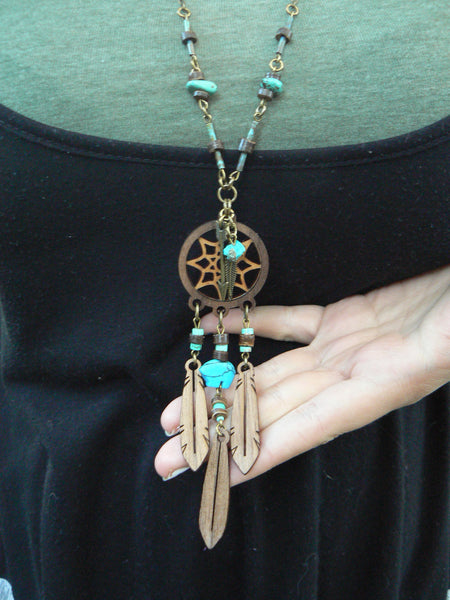 dreamcatcher necklace laser necklace tribal necklace
