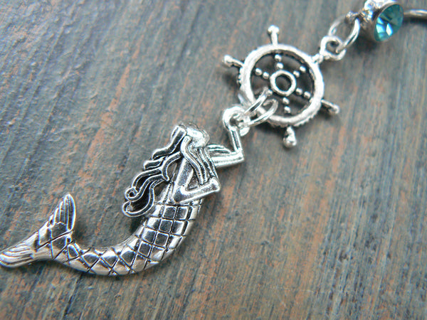 mermaid belly ring with ships wheel nautical belly ring