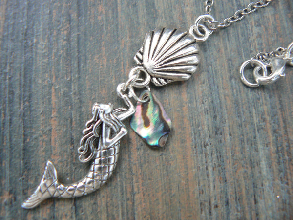 mermaid abalone necklace seashell abalone siren necklace