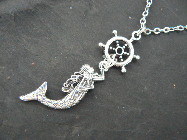 mermaid necklace nautical necklace ships wheel