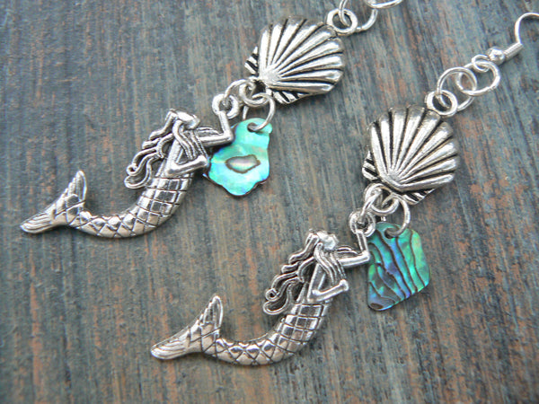 mermaid earrings abalone seashell mermaid earrings