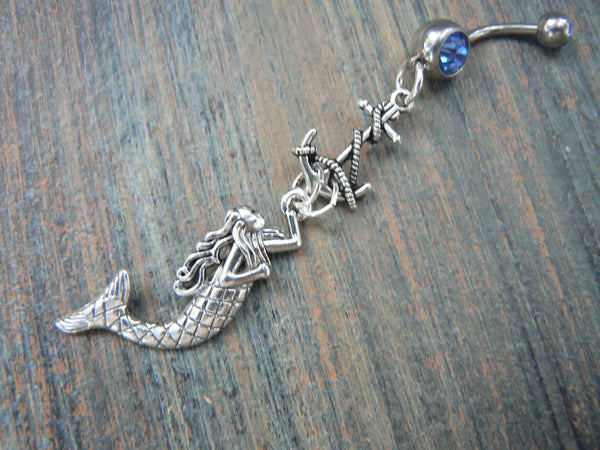 mermaid belly ring with anchor nautical belly ring beach belly ring