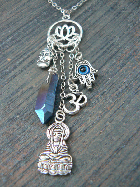 spiritual charm necklace silver tone zen necklace Quan-Yin