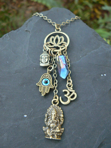 Ganesha charm necklace spiritual necklace zen necklace