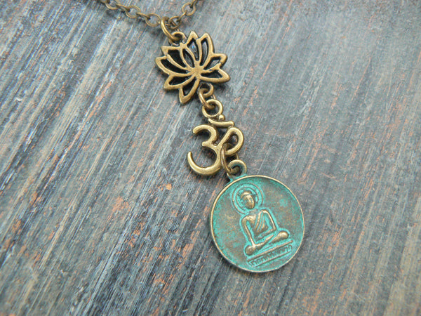 spiritual yoga necklace, lotus flower necklace, buddha necklace