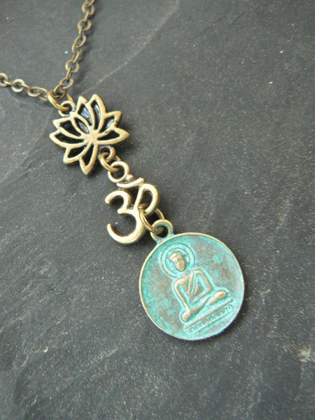 spiritual yoga necklace lotus flower necklace buddah necklace ohm necklace in yoga new age meditation zen hipster boho gypsy hippie style