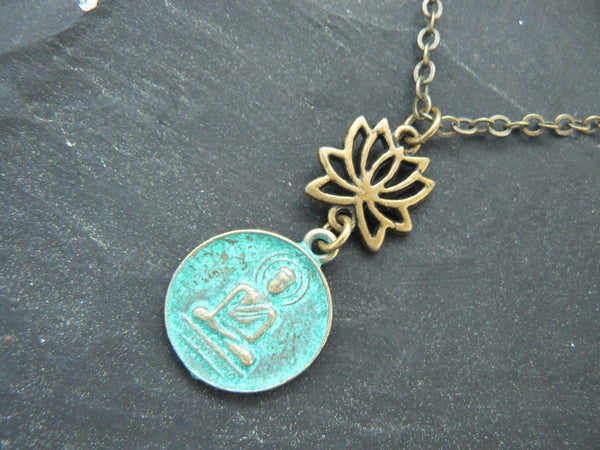 spiritual yoga necklace lotus flower necklace buddah necklace buddha