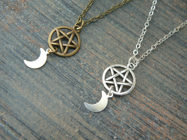 best friends necklace SET of TWO Wiccan necklaces Pentacle necklaces Goddess necklaces