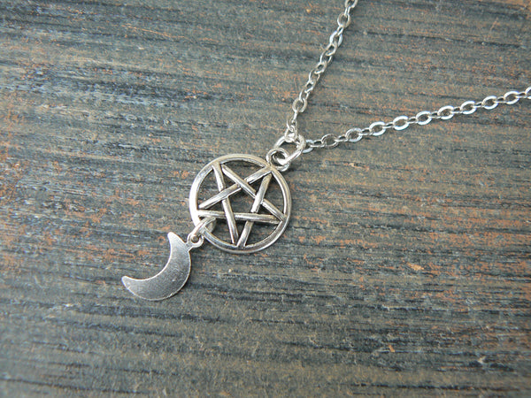 Wiccan necklace Pentacle necklace Goddess necklace Goth necklace witch necklace Wicca necklace