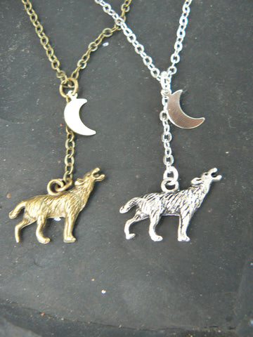 best friends necklace SET of TWO Wolf necklaces wolf howling at the moon necklaces