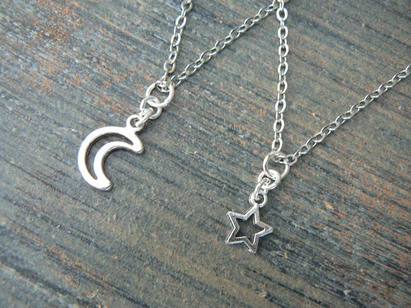 best friends necklace SET moon and star pendant necklaces