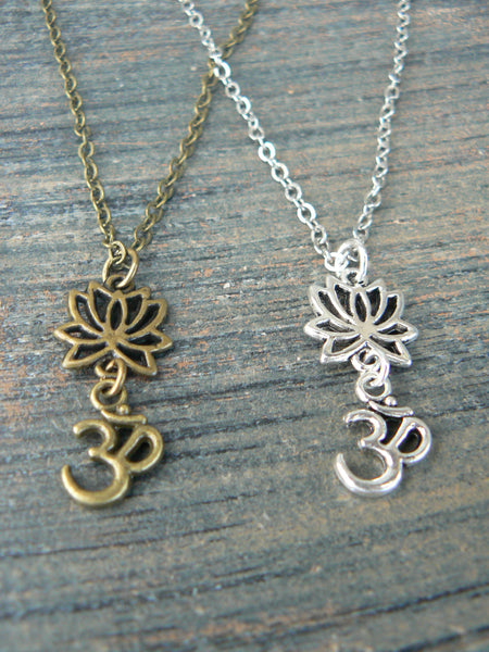 best friends necklace SET of TWO Yoga necklace Lotus ohm om necklaces pendant necklaces