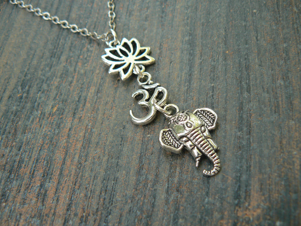 spiritual Ganesha necklace lotus flower necklace zen necklace
