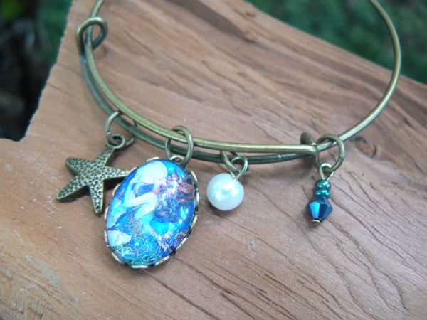 mermaid bracelet mermaid bangle bracelet siren bracelet beach bracelet charm bracelet