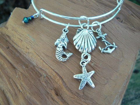 silver mermaid bracelet  bangle bracelet siren bracelet