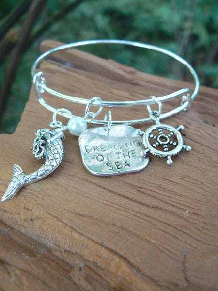silver mermaid bracelet mermaid bangle bracelet siren bracelet beach bracelet