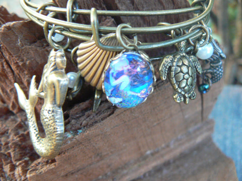 mermaid bracelet bangle bracelet SET OF 3 beach bracelets siren bracelets boho chic