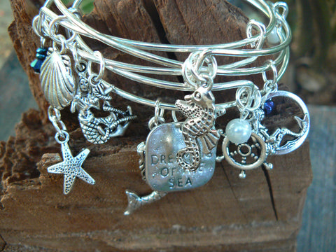 silver mermaid bracelet bangle bracelet SET OF 3 beach bracelets siren bracelets boho chic