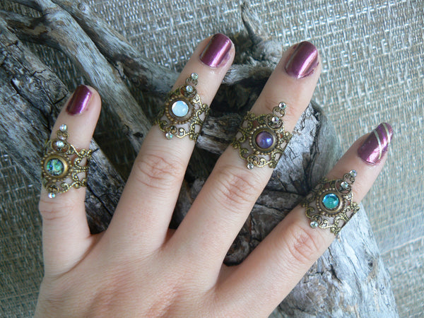 midi ring SET 4 coachella festival knuckle rings armor rings nail rings claw rings