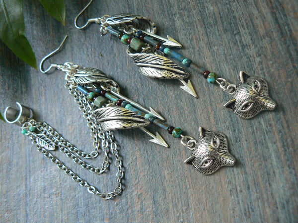 woodland ear cuff wolf ear cuff tribal ear cuff elfin feather cuff SET