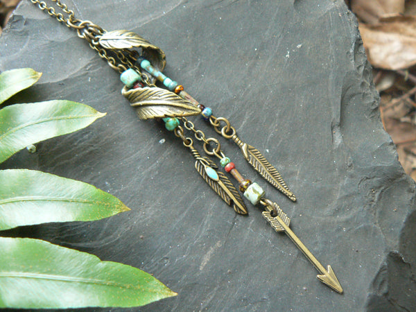 Feather Bohemian Necklace Woodland