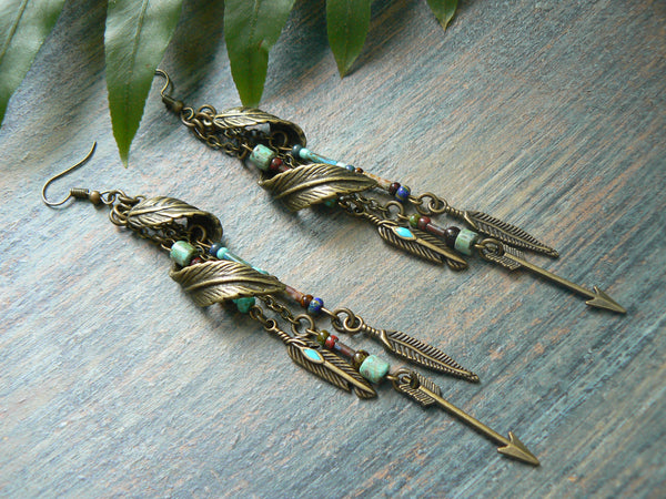 tribal earrings feather earrings turquoise earrings