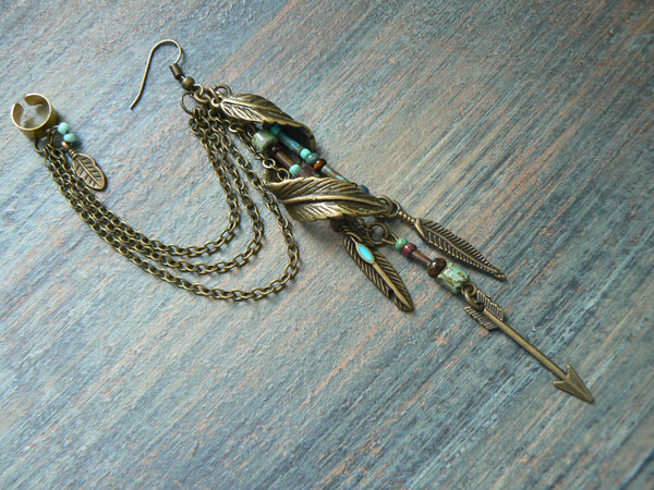 tribal ear cuff feather chained ear cuff ONE