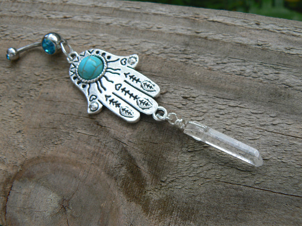 hamsa crystal belly ring quartz belly ring