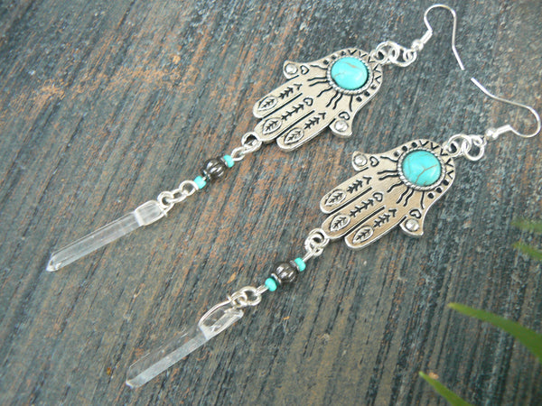 hamsa crystal earrings quartz earrings
