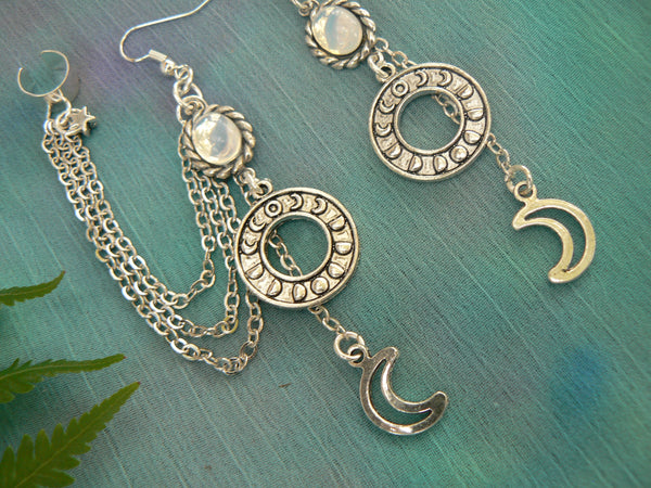 moon phase cuff,moon goddess cuff, cuff set,opal earring , spiritual earrings ,zen earrings