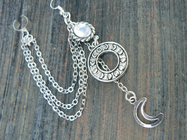 moon phase cuff, earring, ONE ,moon goddess cuff ,chained earring