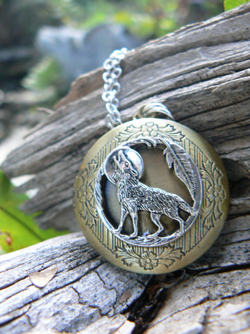 Wolf photo Locket Necklace