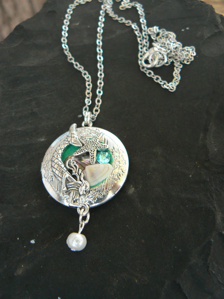 Mermaid Photo Locket Necklace, Boho Beach Cosplay