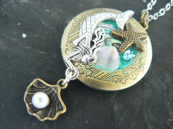 mermaid locket, mermaid necklace, festival, locket jewelry