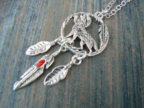 Howling At The Moon Wolf Tribal Necklace, Red Feather