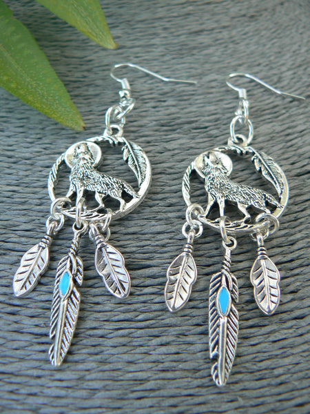 Wolf Earrings,Wolf Dreamcatcher, Feather Dreamcatcher Earrings