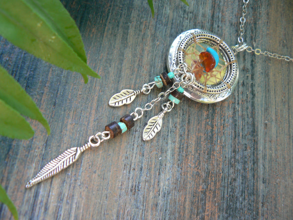 dreamcatcher necklace, dreamcatcher locket